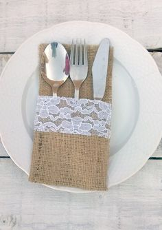 8564ab7427f0 Burlap Cutlery Holder - Burlap Silverware Sleeve - Burlap Cutlery Pocket -  Wedding Table Decor - Flatware Holder - Choose Qty