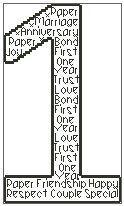 Wedding Anniversary In Words Cross Stitch Chart Wedding Cross Stitch Patterns, Cross Stitch Charts, 1st Wedding Anniversary, Handmade Items, Letters, Words, Paper, Website, Marriage Anniversary