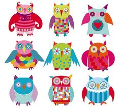 owls and colors go together!