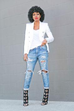 7500e93c92deee Double Breasted Blazer + Tee + Distressed Boyfriend Jeans