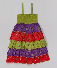Another great find on #zulily! Green & Red Smocked Ruffle Tier Dress - Toddler & Girls #zulilyfinds