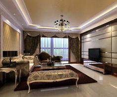 cortinas al estilo barroco para el salón moderno