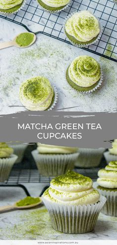There's nothing better than our Japanese matcha green tea cupcakes with whipped cream frosting. Get this easy recipe for matcha cupcakes. Recipe by Asian Inspirations. Best Matcha Tea, Matcha Drink, Matcha Dessert, Matcha Green Tea, Matcha Bowl, Green Teas, Green Tea Cupcakes, Matcha Cupcakes, Green Tea Dessert