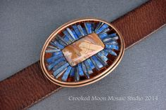 Copper and Blue One of a Kind Mosaic Belt Buckle and Leather Strap