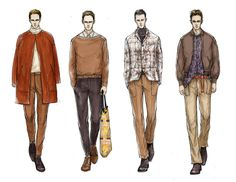 Moda Illustrator Mengjie Di: Comisión de Trend Forecasting StyleSight Menswear Ilustraciones (Photoshop Rendering)