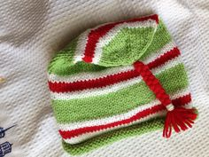 Green, Red and White Holiday Handknit Wool Hat. Good chemo Cap. Adult, Teen, or Older Child by SusanDeanne on Etsy
