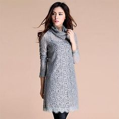 Grey lace tunic dress with cowl neck.