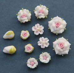 6pcSetWhitePolymer Clay DIY Flowers Set for Earring par naturaler, $4.99