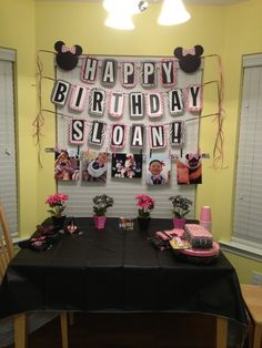 Minnie Mouse Birthday **Would do differently but great idea to do behind a cake signs and pictures *