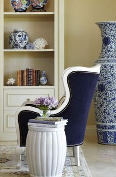 ZsaZsa Bellagio: Blue and White Home -Navy velvet with white painted wood