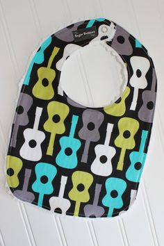 Baby Boy Bib  Guitar by TheSugarButtonsShop on Etsy, $8.50