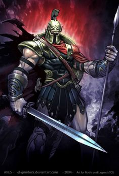 Ares (Mars) - Greek God of War. He is one of the Twelve Olympians, and the son of Zeus and Hera. Greek And Roman Mythology, Greek Gods And Goddesses, God Of War, Guerra Anime, Zeus And Hera, Wolf Warriors, Mythology Books, Roman Gods, Fantasy Warrior