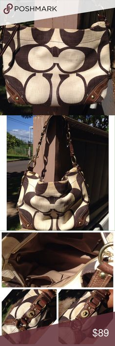 """Coach Carly cotton canvas Medium Hobo  10794 Coach Carly cotton canvas Medium Hobo  10794    Preloved   Missing swing tag Missing dust bag  Canvas needs a cleaning    12"""" long, 9"""" tall, 4 wid  Color: Crème/Brown  Protective Feet on Bottom of Bag  Brass Hardware  Turn Lock Accent on Each End of Bag  One shoulder strap with 10"""" drop  Khaki interior lining with 2 slip pockets and zip pocket Coach Bags Hobos"""