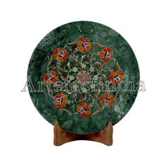 Design Green Marble Wall Plate For Home Decor Pietra Dura Inlay Work Decorated With Semi Precious Gemstones A Unique Art Piece Marble Wall, Green Marble, Pen Holders, Wall Plaques, Semi Precious Gemstones, Plates On Wall, Traditional Art, Unique Art, Art Pieces
