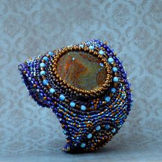 Agate Jewellery – After the Storm - embroidered bracelet – a unique product by Tamarchi on DaWanda