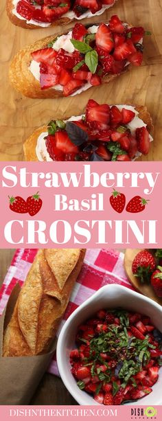 Strawberry Basil Crostini are the most delicious way to highlight sweet ripe strawberries at the peak of their season. Toasted slices of Baguette are slathered with Crème Fraîche, then topped with the sweetest, ripest summer Strawberries, fresh Basil, and Pink Peppercorns. Summer in one bite! Best Appetizer Recipes, Appetizers For A Crowd, Healthy Appetizers, Brunch Recipes, Healthy Recipes, Recipes Using Fruit, Strawberry Recipes, Rhubarb Desserts, Brunch Casserole