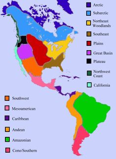 Study a map that list the eight cultural regions of native for North american culture facts
