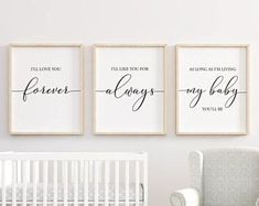 I'll Love You Forever printable, Nursery Wall Art, Nursery Decor, Baby Shower Gift, Baby Girl Nursery, Baby Boy Nursery, Set of 3, #nurserydecor #nursery #homedecor #baby #babysroom #babygirl #babyboy #quotes #printables #svg #signs #quotes #inspiration #diysign #afflink #ss