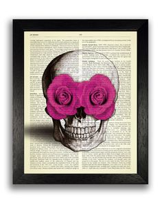 SKULL WITH PINK ROSES IN EYES    ......................................................................................      Buy 2, get 1 FREE !
