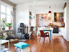 kitchen corner and brick wall