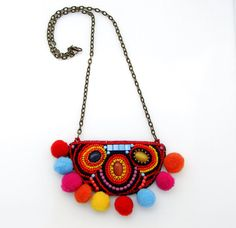 Colorful Pompom Necklace, Bead Embroidery Necklace, Long Necklace, Funky Necklace Use PINTEREST coupon at check-out to get 10% OFF!