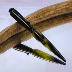Neon Green & Black Acrylic Slimline Pen, available now at http://rkmturnings.storenvy.com!