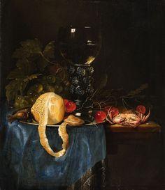 Pieter de Ring (1615-1660) — Still Life with a Lemon, Römer, Grapes, Cherries and Shellfish, (1120x1300)