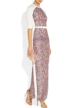Alessandra Rich|Crepe-paneled lace gown$2,575|Alessandra Rich's two-tone gown is a contemporary choice for your next special event. This metallic-lilac lace design features panels of white crepe - cleverly placed to flatter your figure. Cinch your waist with the detachable faux leather belt.    Shown here with: Reed Krakoff ring, Giuseppe Zanotti shoes, Gucci bag.
