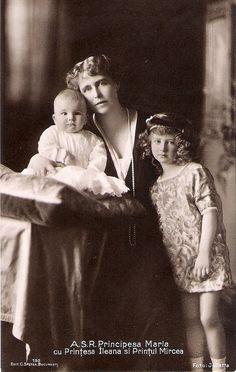 Crown Princess Marie of Romania with Prince Mircea and Princess Ileana of Romania. 1913.