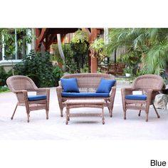 Jeco Honey Wicker 4-piece Patio Conversation Set (Blue Cushions), Size 4-Piece Sets, Patio Furniture (Steel)