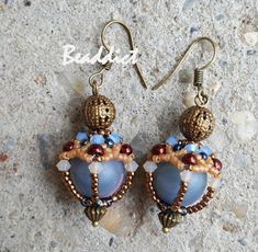 "Earrings ""Fergana"". Beaded by Beaddict.  Pattern by Elena Kanitelka. Seed beads, bicones, round glass beads."