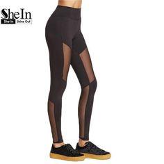 SheIn Mesh Leggings Fitness Clothing Fashion Leggings Womens Black Wide Waistband Mesh Insert Casual Leggings