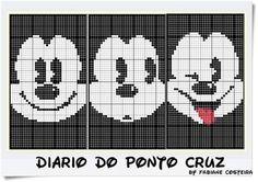 Mickey Mouse x-stitch Cross Stitch Bookmarks, Cross Stitch Baby, Cross Stitch Designs, Cross Stitch Patterns, Cross Stitching, Cross Stitch Embroidery, Mickey Mouse Crafts, Disney Canvas, Graph Crochet