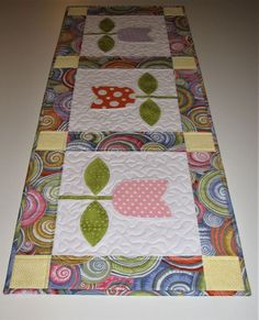 Spring Quilted Table Runner, Appliqued Tulip Table Runner, Modern Pastel Table Mat, Easter Table Runner, Quiltsy Handmade by VillageQuilts on Etsy Quilted Table Toppers, Quilted Table Runners, Small Quilts, Mini Quilts, Elephant Quilt, Tulip Table, Summer Quilts, Easter Table, Easter Party