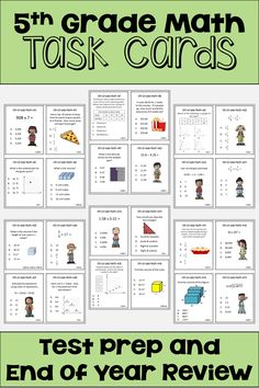 These 5th Grade math task cards are fun for students and great for teachers because they review all the core standards of fifth grade math. Kids love learning with different activities in the classroom and these task cards will help prepare them for end of year testing. All questions are multiple choice and answer keys are included for easy grading. Each question is labeled with the common core standard so it's easy for teachers to see which topics might need additional review. #5thgrademath