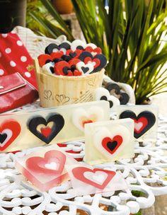 Sabonetes de coração para um romântico dia dos namorados