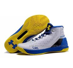 High Quality Free Shipping Under Armour Stephen Curry 3 Shoes White Blue  Yellow 6908ed3db