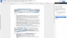 image of the Writing Reviser add-on highlighting all prepositional phrases
