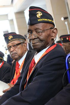 Montford Point Marines, first Black Marines receive Congressional Medal; African American veterans in honor of Veteran's Day.