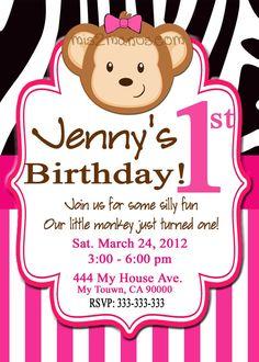 Pink zebra birthday party invitation with photo by digiprintz lgs items similar to monkey birthday invitation pink zebra green monkey birthday party invitation printable digital invite on etsy stopboris Images