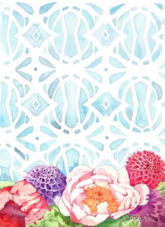 Flowers and Blue Pattern Watercolor by Heatherlee Chan - Lady Poppins