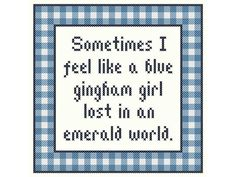 Wizard of Oz inspired BLUE GINGHAM GIRL Cross Stitch Chart on Etsy, $3.50