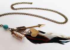 Steampunk arrow through the heart necklace with by totesBOHO Message In A Bottle, Heart Charm, Arrow, Steampunk, Feather, Bronze, Turquoise, Pendant Necklace, Jewellery