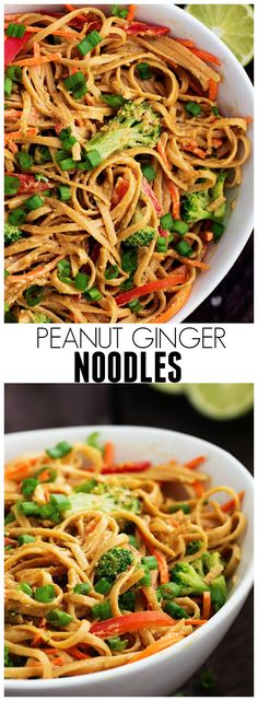 These Peanut Ginger Noodles are full of amazing flavor! Made with better ingredients, this meal is under 400 calories!