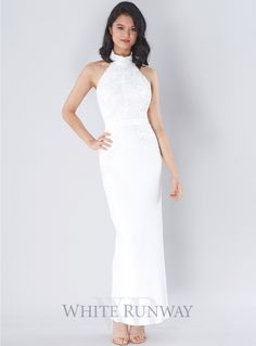 Jazz Dress. A stunning ful length dress by Elle Zeitoune. A halter style featuring lace on the bodice and waistline.