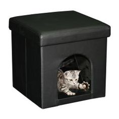 @Overstock - This compact pet ottoman will offer your small pet a cozy retreat with a prime vantage point to keep track of family activities. The rich, neutral cover joins your decor with ease.http://www.overstock.com/Pet-Supplies/Black-Faux-Leather-Pet-Ottoman/6407929/product.html?CID=214117 $34.99