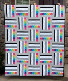 Sweetart Quilt Pattern PDF, Modern Quilt Pattern, Quick Easy Simple Beginner Quilt, 2 sizes in Lap and Twin, Strip Piecing – Sewing Projects Quilt Baby, Jellyroll Quilts, Easy Quilts, Scraps Quilt, Amish Quilts, Quilting Projects, Quilting Designs, Quilting Patterns, Strip Quilt Patterns