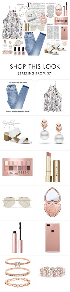 """Outdoor Shopping🛍"" by forever-inspo ❤ liked on Polyvore featuring Tahari, Escalier, Maybelline, Stila, Le Specs, Victoria's Secret, Too Faced Cosmetics, Belkin, Accessorize and Blue Nile"