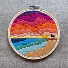 I'm home in Wisconsin soaking in midwestern summertime for a couple weeks. When I was last home (for Christmas) I stitched up this hoop… Embroidery Stitches Tutorial, Embroidery Flowers Pattern, Simple Embroidery, Hand Embroidery Patterns, Vintage Embroidery, Modern Embroidery, Machine Embroidery Designs, Geometric Embroidery, Hungarian Embroidery
