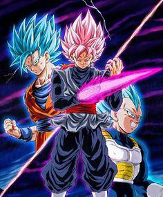 Goku, Vegeta Vs Black SSJ Rose